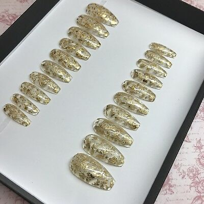 20 Hand painted clear with gold leaf glue Press On Fake False Faux Nails