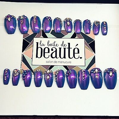 20 Hand painted ombré blue purple crystal glue  Press On Fake False Faux Nails