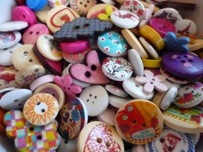Mixed wooden buttons assorted size shapes craft random selection pack of 50