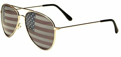 ae60ee39dba American Flag USA Classic Teardrop Metal Aviator Sunglasses (Gold)