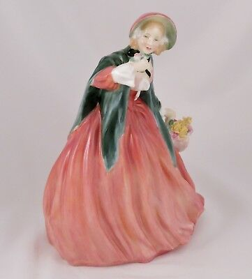 "Royal Doulton Figurine Lady Charmian HN1949 Bone China 8"" Red Dress Green Shawl"