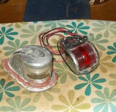 LOT 2 Vintage Boat Marine Lights Markers Bow Perko Red 1218 Stern Collectible NR