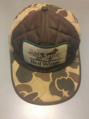d915b4a5906 Vintage Red Wings Irish Setter Camo Hat Cap Ear Flaps Size M Thinsulate  Hunting