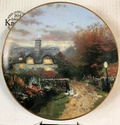 "Thomas Kinkade  ""Open Gate Cottage"" Plate by Knowles - COA"