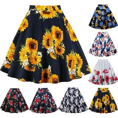 Womens Summer Floral High Waisted Skater Full Circle A-Line Mini Skirt Plus Size