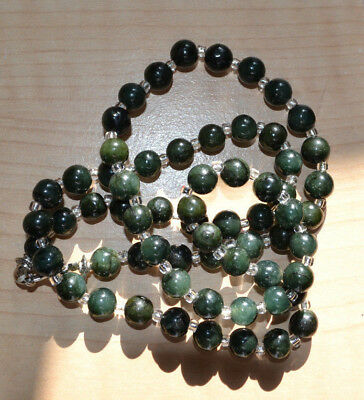 Vintage not enhanced dark green Jade hand carved ball beads beaded Necklace