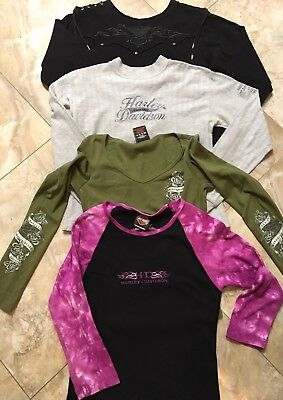 WOMENS HARLEY DAVIDSON LONG SLEEVE LOT OF 4 S/M/L/Ride Like The Wind
