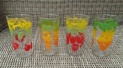 Vintage Drinking Glasses Hand Painted Fruit Set of 4 Drinking Glasses