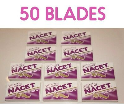50 Gillete NACET STAINLESS Double Edge Razor Blades Made in Russia