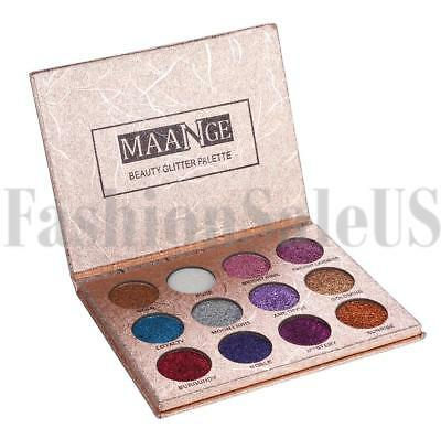 12 Colors MAANGE Beauty Glitter Eyeshadow Shimmer Eye Shadow Palette for Party