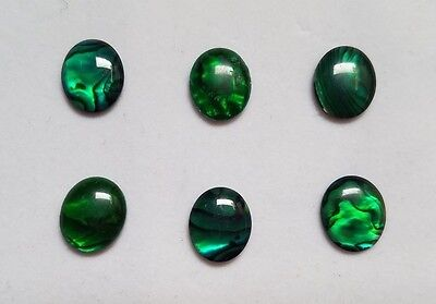 Lot of 6 Green Paua Shell Oval Cabochon High Quality 12x16 13x18 15x20 sizes