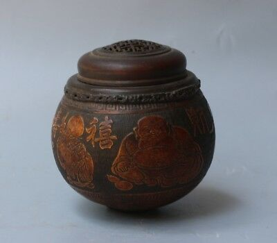 Chinese Exquisite Handmade immortal carving gourd pot
