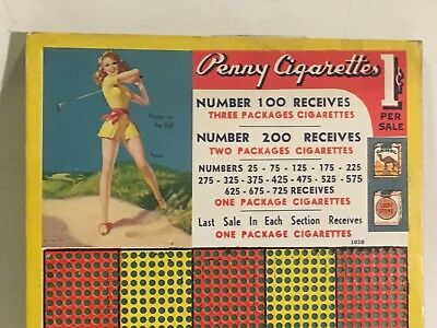 Vintage Pin Up Cigarette Punch Board Golf Gambling Trade Stimulator Game
