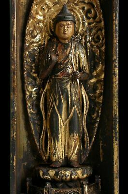 Antique Edo Carved Wood Kannon Goddess of Compassion Guanyin 観音 Shrine Statue