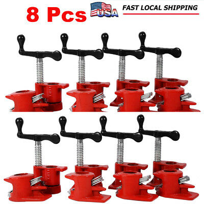 """8 pcs 3/4"""" Wood Gluing Pipe Clamp Set Heavy Duty PRO Woodworking Cast Iron"""