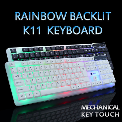 [K11] Led Rainbow Color Backlit Light Usb Wired Gaming Keyboard Mechanical Touch