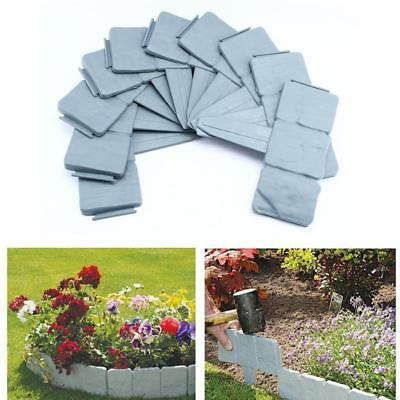 1/5/10X Garden Edging Cobbled Stone Effect Plastic Plant Hammer-In Lawn Palisade