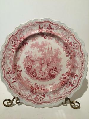 "Antique Staffordshire Red and White 9"" Plate -Temple Warrior"