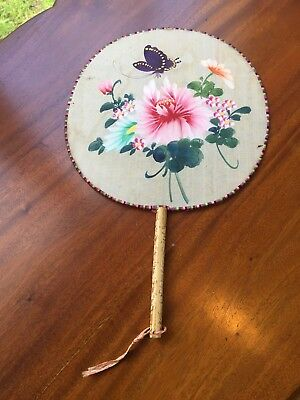 Antique Painted Silk Chinese Style Hand Fan