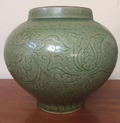 Antique Chinese Ming Celadon Longquan Crackle Glaze Floral Body Porcelain Vase