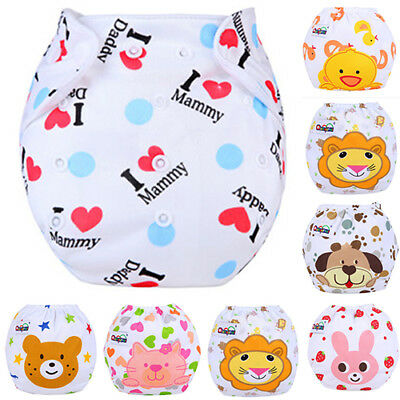 Reusable Washable Baby Infant Cloth Diaper Kids Nappy Cover Adjustable Diapers W