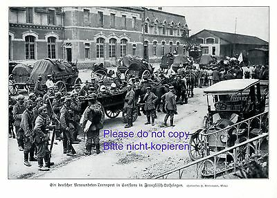 Wounded German soldiers 1914 photo image Conslans in French Lorraine transport +