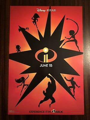 """Incredibles 2 AMC IMAX Double Feature Opening Night Poster 13x19"""" Disney Pixar"""