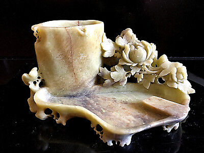 China 19. Jh. Speckstein Pinselbecher - Chinese Soapstone Carving Chinoiserie