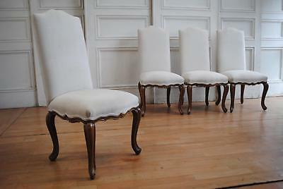 Quality Antique Style French Louis XV High Back Oak Dining Chairs