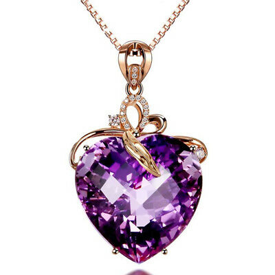 Heart of the Purple Gold Plated Fashion Crystal Necklace Pendant Jewelry Party