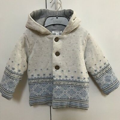 Purebaby Grey Blue Knit Hooded Jacket Baby Boys Girls 12-18m