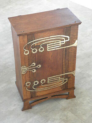 antique Art Nouveau CUPBOARD Wall Cabinet OAK brass Storage Arts and Crafts old