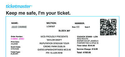 Taylor Swift Reputation Tour in Croke Park (bought 144€)
