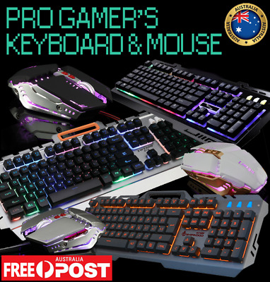 Pro Gamer's Keyboard & Mouse Led Backlit Light Mechanical Touch Wired Usb
