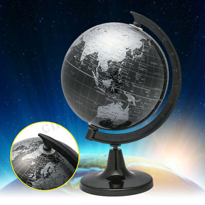 Black World Globe Rotate Geographical Earth Map Ornament Vintage Desktop Decor