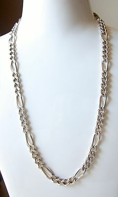 Heavy 48 gr  Vintage Sterling Silver 20 inch Fancy Link Curb Chain Necklace