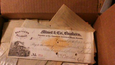 1878 Check Train Graphic Northern Railroad Minot & Co. Bankers Shawmut Bank