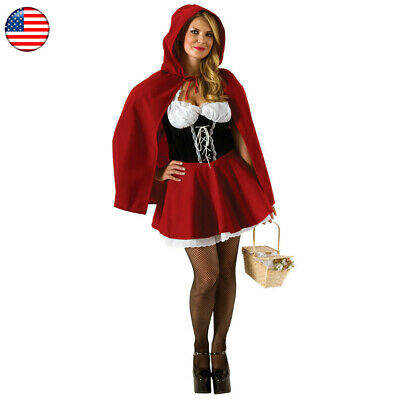 Women Halloween Little Red Riding Hood Costume Christmas Fairy Tale Party Dress