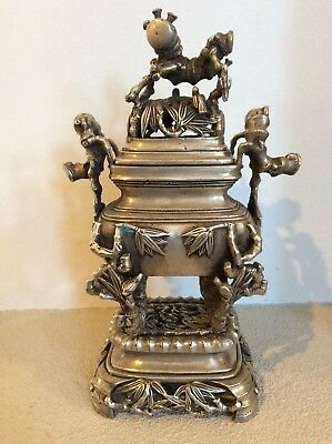 Chinese Silver Copper Carved Stylised Bamboo Incense Burner With Stand