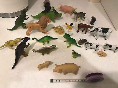 Bundle of Plastic Toy Animals and Dinosaurs