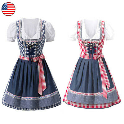 US German Traditional Dirndl Dress Oktoberfest Beer Girl Costume Bavarian Outfit