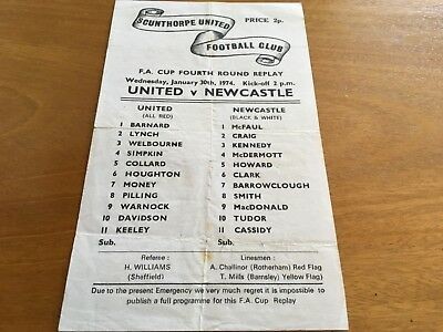 Scunthorpe United v Newcastle 1973-74 FA Cup 2nd Round REPLAY