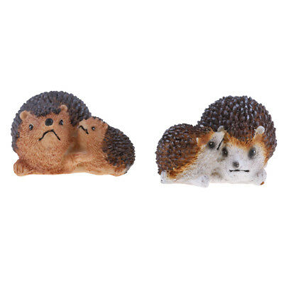 MagiDeal 2x Mini Hedgehog Fairy Garden Decor Figurine Micro Landscape Set #2
