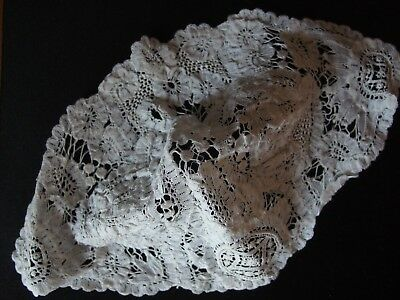 antique hand embroidered lace baby cap Christening doll etc