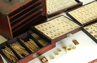Mahjong Set, Bone + Bamboo Tiles, Early 20th century Chinese In Brass Bound Wood