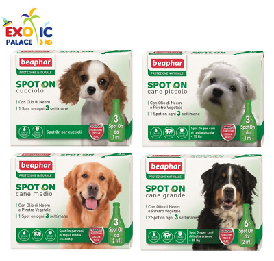 Beaphar Antiparassitario Naturale Spot On Per Cane 3/6 Pipette Fiale Varie Tg.