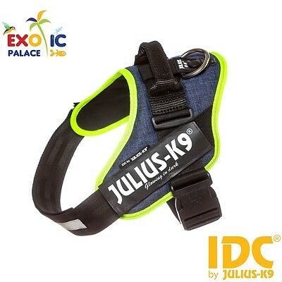 Julius-K9 Idc Powerharness Jeans Con Bordo Neon Fluo Pettorina In Nylon Per Cane
