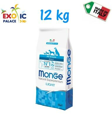 Monge All Breed Adult Light Salmone 12 Kg Crocchette Cibo Secco Per Cane Dog