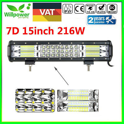 15inch 7D Tri-Row 216W LED Work Light Bar Combo Flood Spot Truck SUV OFFROAD 4WD