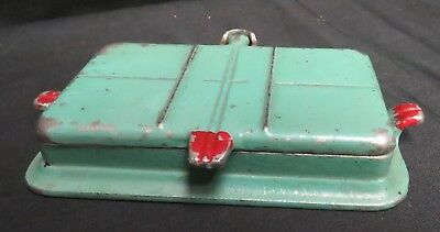 Vintage 1920's Arcade Green Cast IronToy Rectangle Waffle Iron